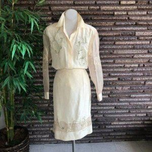 Orlando Rossi Embroidered Silk Blouse Skirt Set